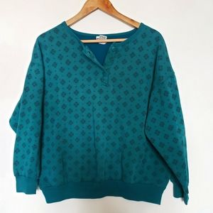 Sweaters - 4 for $25 vintage print turquoise sweatshirt